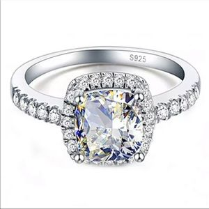 Real 925 Sterling Silver Diamond Ring